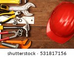 hand tools and helmet on a... | Shutterstock . vector #531817156