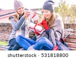 happy women holding gifts box... | Shutterstock . vector #531818800