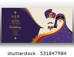 indian wedding card  gold and... | Shutterstock .eps vector #531847984