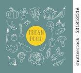 menu icons. chalk vegetables on ... | Shutterstock .eps vector #531853516