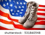 pair of combat boots with usa... | Shutterstock . vector #531860548