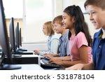 elementary pupils in computer... | Shutterstock . vector #531878104