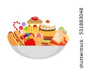 fatty foods on the plate vector ... | Shutterstock .eps vector #531883048