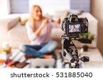 joyful girl using cosmetic... | Shutterstock . vector #531885040