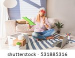carefree young woman... | Shutterstock . vector #531885316