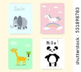 cute hand drawn cards ... | Shutterstock .eps vector #531898783