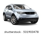 compact silver suv   3d render...