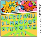 colorful comic book font in a... | Shutterstock .eps vector #531912253
