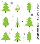 christmas trees vector set   Shutterstock .eps vector #531914440