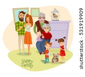 happy family flat template with ... | Shutterstock .eps vector #531919909