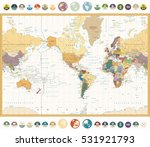 america centered world map with ... | Shutterstock .eps vector #531921793