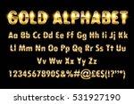 golden alphabet letters numbers ... | Shutterstock .eps vector #531927190
