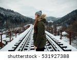 winter journey. girl in winter...   Shutterstock . vector #531927388