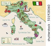 cartoon map of italy   Shutterstock .eps vector #531928360