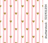 Cute seamless pattern with pink stripes and golden glitter hearts. Valentine's day background.