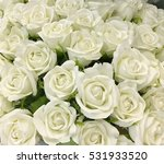 Stock photo many white roses as a floral background 531933520