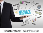 feedback concept with young man ... | Shutterstock . vector #531948310