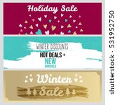 set of flat winter holidays and ... | Shutterstock .eps vector #531952750