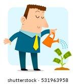 business man watering a sapling ... | Shutterstock . vector #531963958