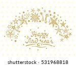 happy new year card with hand... | Shutterstock .eps vector #531968818