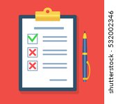 checklist with a pen. ... | Shutterstock .eps vector #532002346