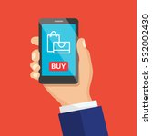 mobile shopping button  flat... | Shutterstock .eps vector #532002430