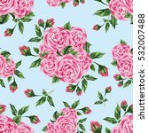seamless pattern with roses on... | Shutterstock . vector #532007488