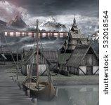 Medieval Ship In An Harbor Nea...