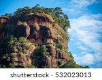 wooden bridge on cliff thailand | Shutterstock . vector #532023013