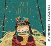 cute winter cartoon girl with... | Shutterstock .eps vector #532027888