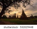 sun light on evening at wat... | Shutterstock . vector #532029448