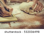 woman housewife writes a recipe ... | Shutterstock . vector #532036498
