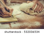 woman housewife writes a recipe ... | Shutterstock . vector #532036534