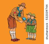 scoutmaster shows little insect ... | Shutterstock .eps vector #532039744