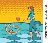 coach playing with children... | Shutterstock .eps vector #532039858