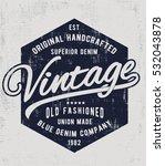 vintage denim typography  t...