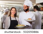 smiling chefs and young nippy... | Shutterstock . vector #532050886