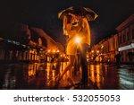 love in the rain   silhouette... | Shutterstock . vector #532055053
