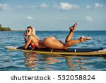 young sexy woman lying on a... | Shutterstock . vector #532058824