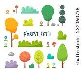 set of flat forest  tree... | Shutterstock .eps vector #532060798