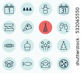 set of 16 new year icons. can... | Shutterstock .eps vector #532065550