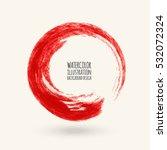 red ink round stroke on white... | Shutterstock .eps vector #532072324