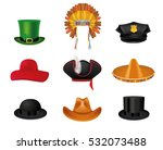 hat set with black cylinder ... | Shutterstock .eps vector #532073488