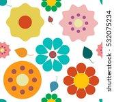flowers seamless pattern.... | Shutterstock .eps vector #532075234