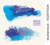 vector set of blue watercolor... | Shutterstock .eps vector #532075324