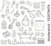 vector set of drawn bathroom... | Shutterstock .eps vector #532078474