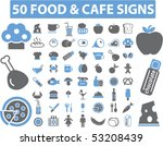 50 food   cafe signs. vector | Shutterstock .eps vector #53208439