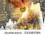 double exposure hand put more... | Shutterstock . vector #532085584