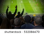 crowd of soccer fans looking... | Shutterstock . vector #532086670