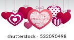 paper hanging hearts isolated... | Shutterstock .eps vector #532090498